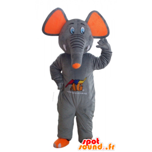 Mascot elephant gray and orange, cute and colorful