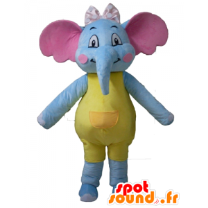 Blue elephant mascot, yellow and pink, seductive and colorful