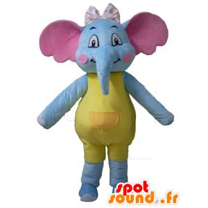 Mascot sininen elefantti, keltainen ja pinkki, houkutteleva ja värikäs