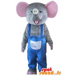 Mascot gray and pink elephant with blue overalls