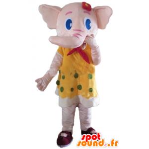 Mascote elefante rosa, cor amarela com ervilhas verdes