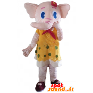 Pink Elephant mascotte, colore giallo con piselli