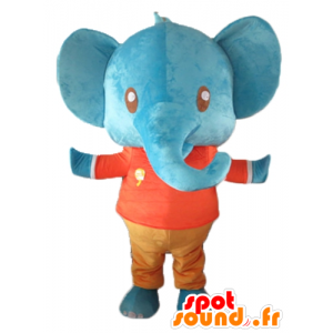 Mascotte giant blue elephant holding red and orange