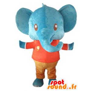 Maskotka gigant niebieski słoń trzyma czerwony i pomarańczowy