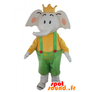 Elephant Mascot holding yellow and green, with a crown