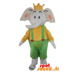 Mascotte d'éléphant en tenue jaune et verte, avec une couronne