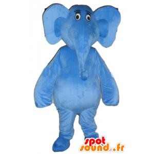 Mascote elefante azul, gigante e totalmente personalizável