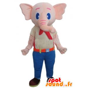Mascote elefante rosa, vestindo uma roupa colorida