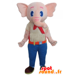 Pink Elephant mascot, wearing a colorful outfit