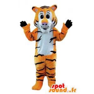 Oranssi tiikeri maskotti, valkoinen ja musta, raidallinen - MASFR22916 - Tiger Maskotteja