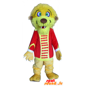 Lion mascot, yellow tiger, circus outfit - MASFR22918 - Lion mascots