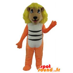 Lion mascot orange, white and black with a yellow mane - MASFR22919 - Lion mascots