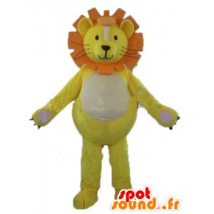 Mascotte leone, cucciolo di leone, giallo, bianco e arancio - MASFR22920 - Mascotte Leone