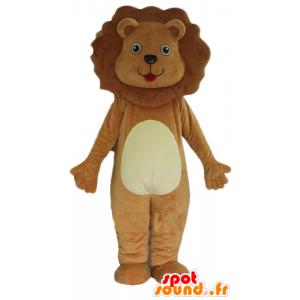 Brązowy i biały lew maskotka, słodkie i miłe - MASFR22922 - Lion Maskotki