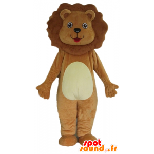 Brown and white lion mascot, cute and endearing - MASFR22922 - Lion mascots