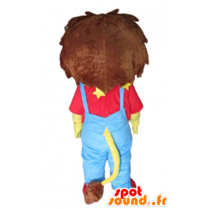 Mascotte small yellow and brown lion in blue dress and red - MASFR22923 - Lion mascots