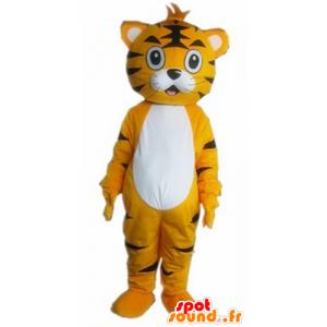 Tiikeri maskotti, oranssi kissa, valkoinen ja musta - MASFR22924 - Tiger Maskotteja