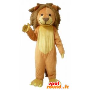 Ruskea ja keltainen leijona maskotti, makea ja söpö - MASFR22925 - Lion Maskotteja