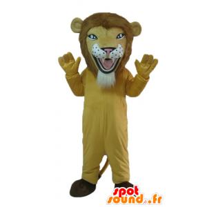 Beige lion mascot, tiger, fierce-looking - MASFR22930 - Lion mascots