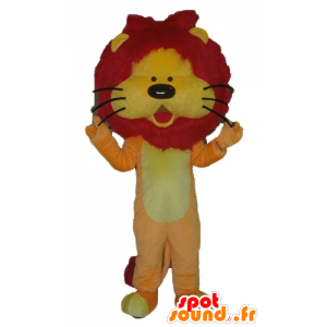 Lion mascot orange, yellow and red, with a pretty mane - MASFR22931 - Lion mascots