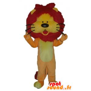 Oranssi leijona maskotti, keltainen ja punainen, jossa on mukava harja - MASFR22931 - Lion Maskotteja