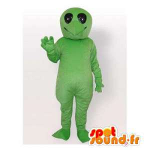 Mascot green turtle without its shell. Reptile suit