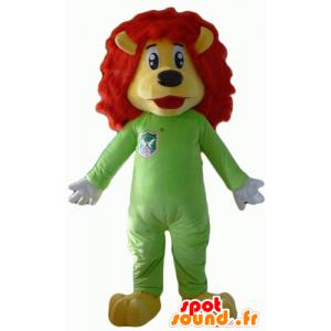 Maskotti keltainen ja punainen leijona vihreällä yhdistelmällä - MASFR22935 - Lion Maskotteja
