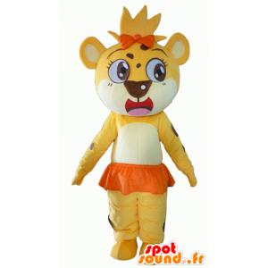 Lion mascot, tiger yellow, white and orange - MASFR22936 - Lion mascots
