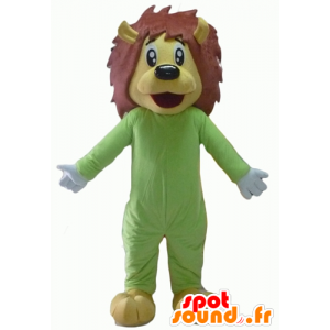 Mascot lion yellow and brown, green combination - MASFR22939 - Lion mascots