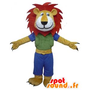Yellow lion mascot, white and red, with a colorful outfit - MASFR22946 - Lion mascots