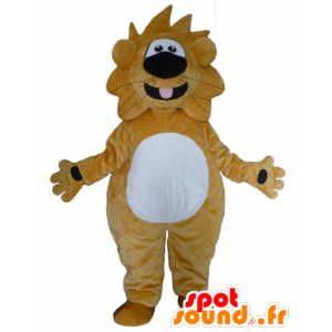 Large yellow and white lion mascot, funny and friendly - MASFR22947 - Lion mascots