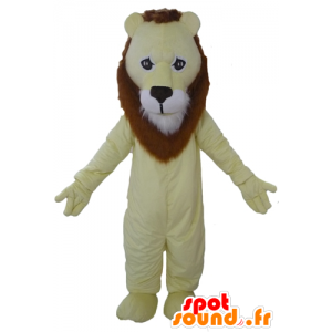 Yellow lion mascot, brown and white, very successful - MASFR22952 - Lion mascots
