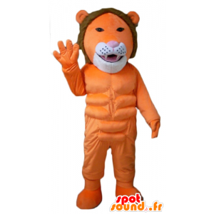Lion mascot orange, white and brown, very original and colorful - MASFR22953 - Lion mascots
