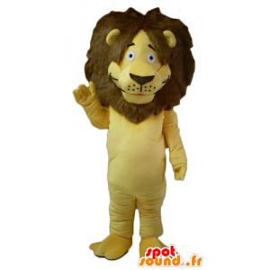 Mascot yellow and brown lion with a big hairy mane - MASFR22954 - Lion mascots