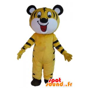 Gelbes Tiger-Maskottchen, weiß und schwarz, heiter - MASFR22963 - Tiger Maskottchen