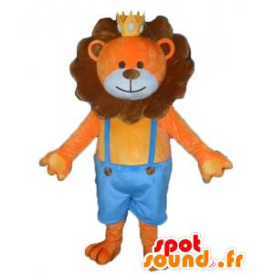 Pomarańczowy i brązowy maskotka lew z koroną - MASFR22964 - Lion Maskotki