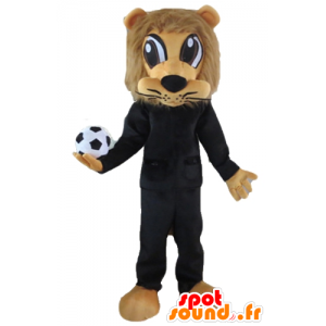 Brown-Löwe-Maskottchen, in schwarz Sport mit einem Ball gekleidet - MASFR22966 - Sport-Maskottchen