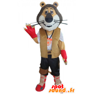 Mascotte de lion tricolore, en tenue d'explorateur, de motard - MASFR22970 - Mascottes Lion
