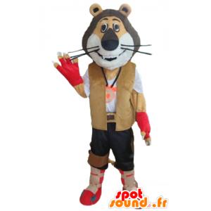 Tricolor lion mascot, dressed Explorer, biker - MASFR22970 - Lion mascots