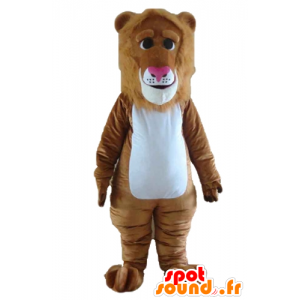 Brown and white lion mascot with a beautiful mane - MASFR22971 - Lion mascots