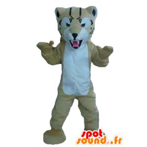 Beige und Weiß Tiger-Maskottchen, wild aussehende - MASFR22973 - Tiger Maskottchen