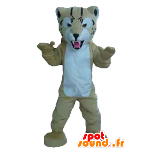 Maskot beige och vit tiger, ser hård ut - Spotsound maskot