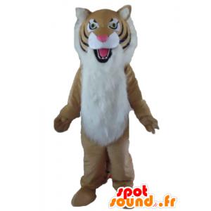 Brun, vit och svart tigermaskot, hårig - Spotsound maskot