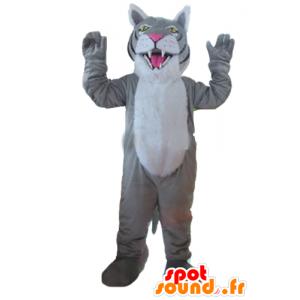 Mascot harmaa tiikeri, valkoinen ja musta jättiläinen - MASFR22976 - Tiger Maskotteja
