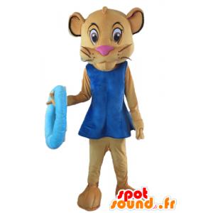 Sala mascot, brown lioness, girlfriend of Simba, with a dress - MASFR22977 - Lion mascots