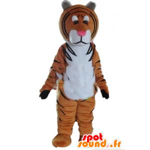 Tiger Maskottchen braun, weiß und schwarz - MASFR22979 - Tiger Maskottchen