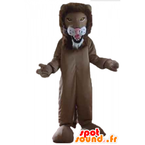 Brown and white lion mascot, giant - MASFR22980 - Lion mascots
