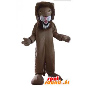 Mascotte de lion marron et blanc, géant - MASFR22980 - Mascottes Lion