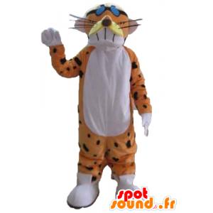 Orange, vit och svart tigermaskot, rolig och färgstark -