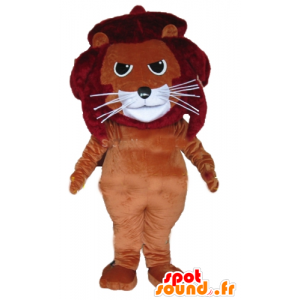 Lion mascot, brown feline, red and white - MASFR22985 - Lion mascots